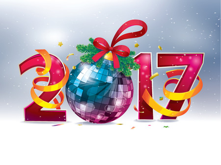 2017 Happy New Year. figures and Christmas ball. festive party