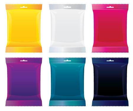 Verpackung für Süßigkeiten, Schokolade und andere Produkte. Vektor-Illustration. Paket Satz von orange, klar, lila, blau, rot, schwarz Standard-Bild - 69010351