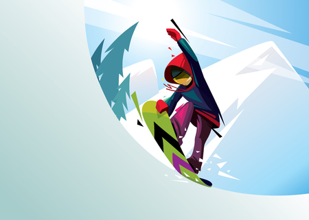 vector illustration of a snowboarder rider on a background of mountains. winter extreme sports. freestyle, freeride, tail block