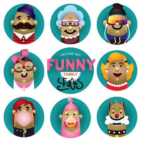 Funny family icons vector set. Cartoon characters faces illustrations. Father, grandmother, son, mother, daughter, newborn and dog. Çizim