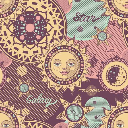 vector seamless pattern decorative space image. sun, moon, planets, stars, earth Stock Illustratie