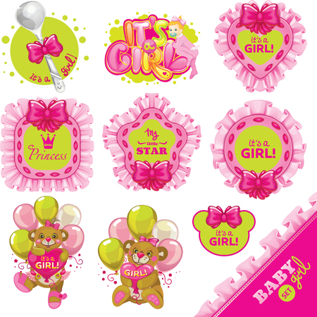 vector Little princess pink set