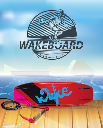 wakeboarding park vector illustration Çizim