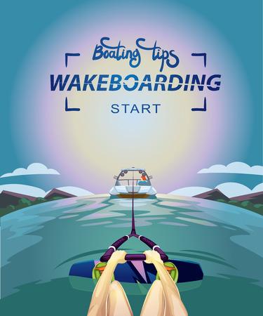Wakeboarden Start Bootfahren Spitzen Vektor-Illustration Standard-Bild - 71317401