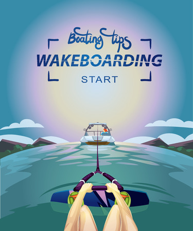wakeboarding start boating tips vector illustration