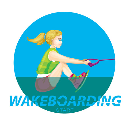 wake boarding start in water Çizim