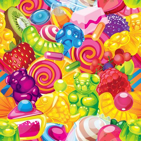 お菓子は、シームレスなパターンをベクトル
