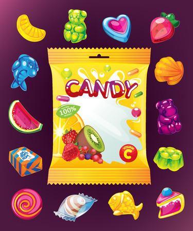 Candy jelly vector set and packaging Çizim