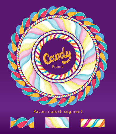 Sweet candy frame. Vector pattern brush segment