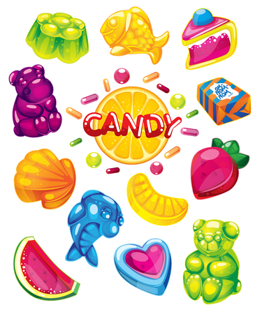 Fruit jelly candy. vector set of sweets.