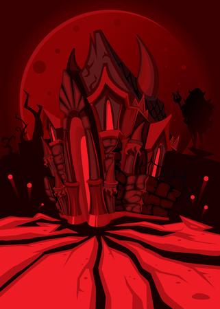 Glückliches Halloween-Partyplakat. Hölle und die Teufelsburg. dunkelrote Nacht Fantasielandschaft. Vektor-Illustration Standard-Bild - 74281257