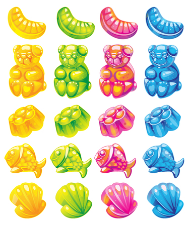 fruit jelly candies. Vector set of colored sweets.