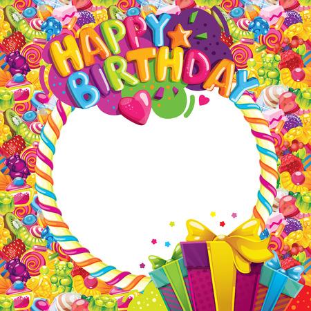 Marco del vector del color del feliz cumpleaños. Inscripción, regalos y caramelos dulces. marco de la foto Ilustración de vector