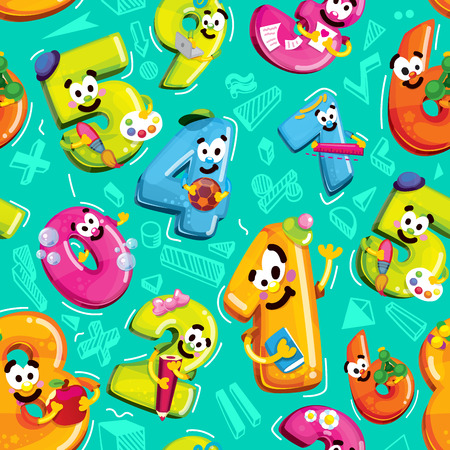 Seamless vector pattern of funny cartoon figures. School life and mathematics on a blue background. Numbers of figures with smiles characters Çizim