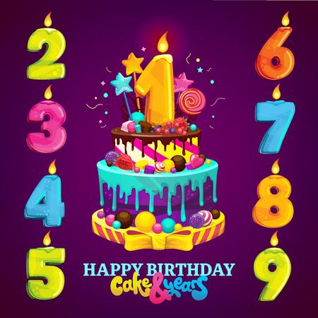 Set für eine Kinderparty. Alles Gute zum Geburtstag Kuchen und Zahlen für jedes Jahr. Vektor-Illustration Standard-Bild - 76390013