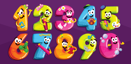 Karikaturfiguren Lächelnde Kinderschulzeichen Zahlen. Vektor farbige Figuren mit Szenen des Schullebens Standard-Bild - 76389682