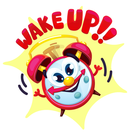 Comical red alarm clock. Vector isolated cartoon illustration and lettering wake up! Çizim