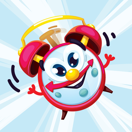Cartoon red alarm clock with a smile. Vector illustration of an alarm clock character wake up