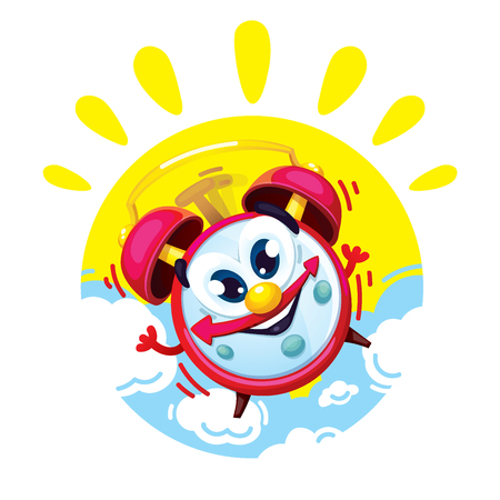 Good morning cartoon comic red alarm clock on the pattern of the sun and clouds. Vector isolated children's illustration of an alarm clock character Vectores