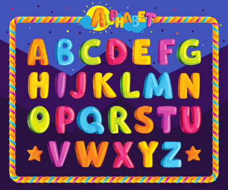 Childrens font in the cartoon style. Set of multicolored bright letters for inscriptions. Vector illustration of an alphabet.