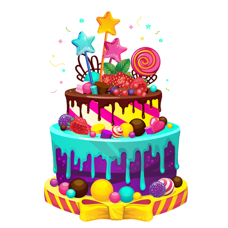 Happy birthday cake. Bright vector isolated illustration of a festive party cake