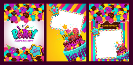 Greeting card with birthday balls of smileys and stripes. Happy birthday party vector illustration set