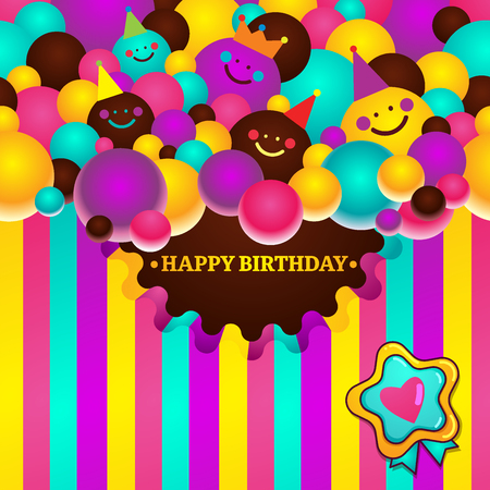 Greeting card with birthday balls of smileys and stripes. Happy birthday vector illustration
