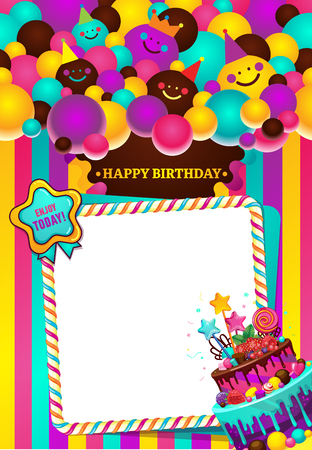 Greeting card with birthday balls of smileys, stripes and cake. Happy birthday vector illustration frame