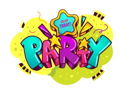 """Cartoon-Inschrift """"Party"""". Isolierte Vektor-Illustration auf weißem Hintergrund. Design-Element zum Geburtstag Standard-Bild - 76390023"""