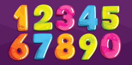 Figures de dessins animés vectoriels. Ensemble de numéros de couleurs Banque d'images - 76390859