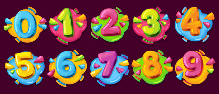 Colored cartoon numbers. Vector set of 1-9 digit baby icons in the cloud