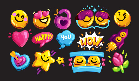 Smiley face vector icon set. Youth cartoon stickers for lovers and friends against a dark background