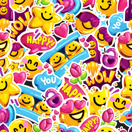 smiley faces sticker emoji love seamless pattern. Cartoon vector youth message.