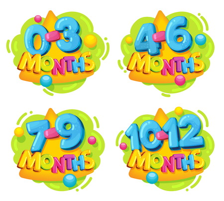 Baby development is the first year of life. Set of vector emblem for newborn. Cartoon colored stickers 0-3, 4-6, 7-9, 10-12 months. Age restrictions for toys Çizim