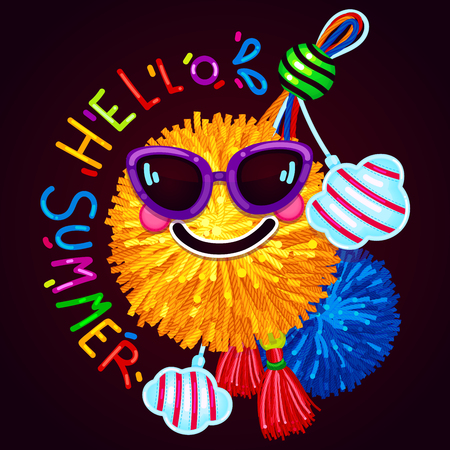 Hello summer print on a dark background. vector illustration of a sun pom-pom with glasses with a smile and a bright pendant. Çizim
