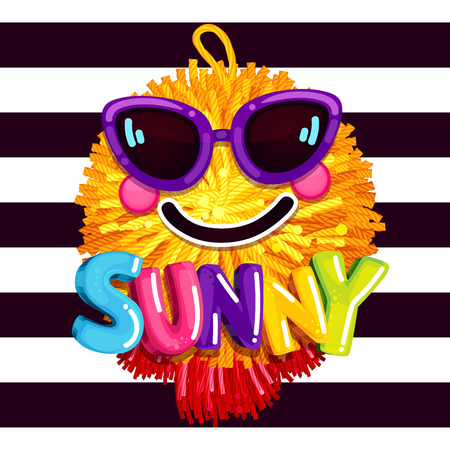 Sunny smile sunglasses. summer colorful print. soft pompon pendant vector illustration on strips background. Çizim