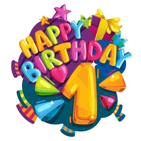 Feliz cumple 1 años. Colorida ilustración festiva para fiesta de celebración y decoración primer cumpleaños Ilustración de vector