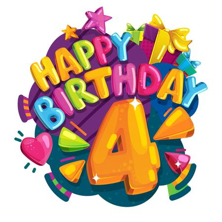Alles Gute zum Geburtstag 4 Jahre . Bunte festliche Illustration für festliche Partei und Dekoration Standard-Bild - 95606369