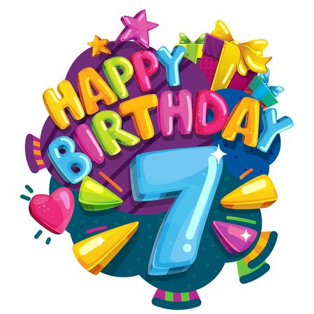 Alles Gute zum Geburtstag 7 Jahre . Bunte festliche Illustration für festliche Partei und Dekoration sieben Geburtstag Standard-Bild - 95686292