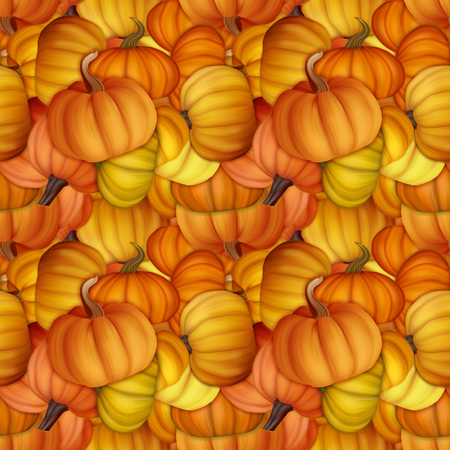 elegant design: Funny and fresh autumn seamless pattern with pumpkins. Original illustration for fabric and textile design.