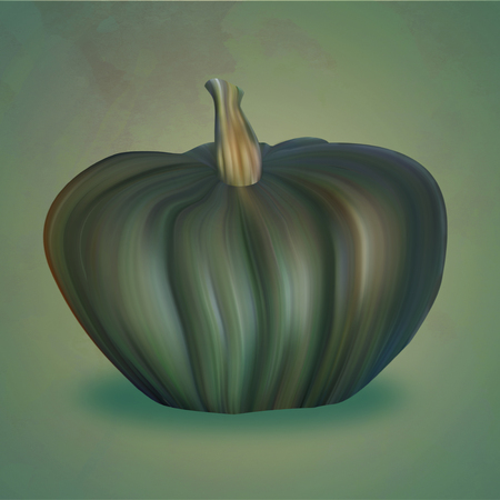 verdant: Green Pumpkin Illustration on the green backdrop. Seasonal harvest.