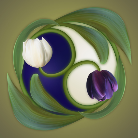 duality: Poster of duality. White and Black, Dark and Light. Conceptual banner of the yin-yang simbol. Tulips. Stock Photo