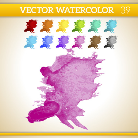 Pink Vector Watercolor Artistic Splash for Design and Decoration. In rainbow color variations. Stock Photo