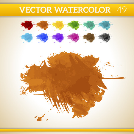 Orange Vector Watercolor Artistic Splash for Design and Decoration. In rainbow color variations.