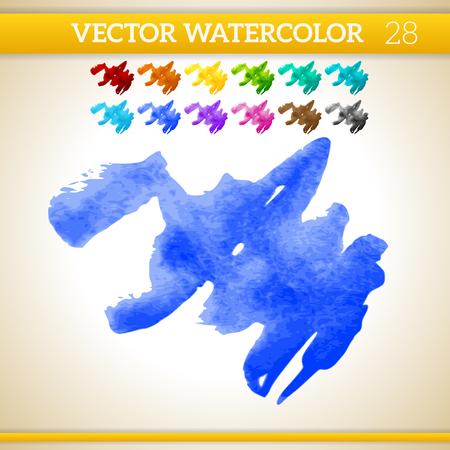 canvas print: Indigo Vector Watercolor Artistic Splash for Design and Decoration. In rainbow color variations.