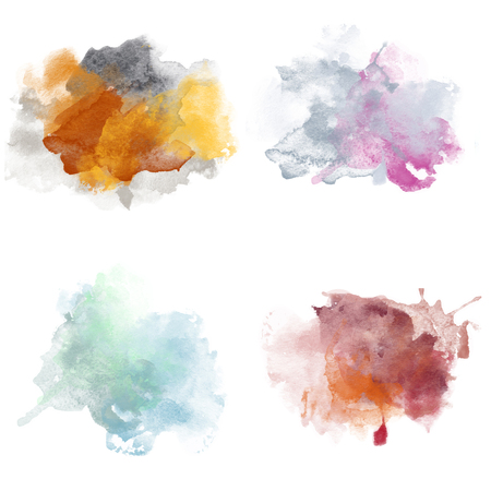 Various Colorful Watercolor Blobs. Set of Watercolor Splashes for design.