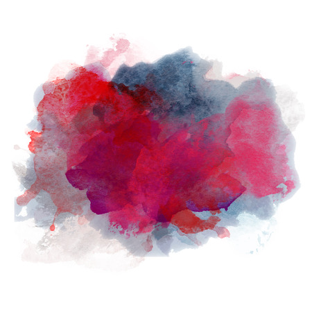 passion: Red and Blue Watercolor Splash for various decor. Paper Illustration. Passion.