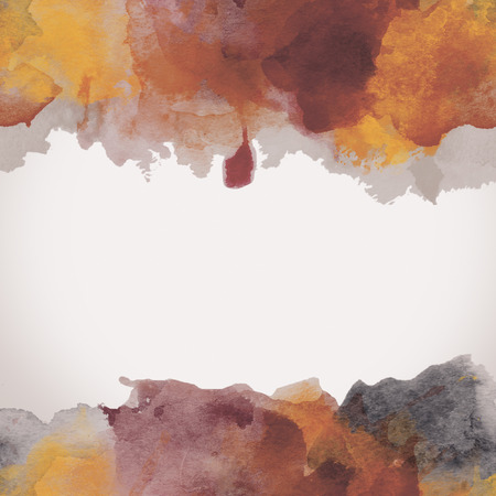 blobs: Autumn Paper Watercolor Backdrop with colorful blobs and place for text. Stock Photo