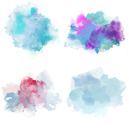 blobs: Winter Cold Watercolor Blobs. Set of Watercolor Splashes for design.