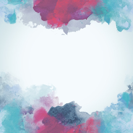 blobs: Blue and Pink Winter Paper Watercolor Backdrop with colorful blobs and place for text.